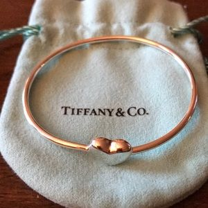 Tiffany & Co silver puff heart wire bangle-rare